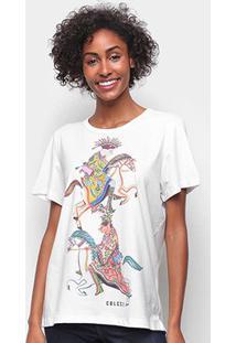 Camiseta Colcci Básica Estampada Feminina - Feminino-Areia