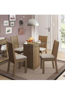 Conjunto Para Sala De Jantar Mesa Com 4 Cadeiras Lucy Madesa Rustic/Pérola