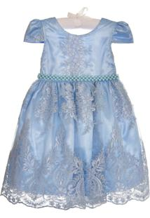 Vestido Enjoy Kids Rendado Luxo Azul