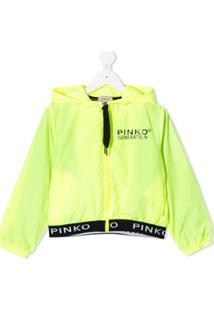 Pinko Kids Jaqueta Impermeável Com Estampa De Logo - Verde