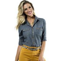 fcbfccc140 Camisa Jeans Feminina Maquinetada De Poá Principessa Nina