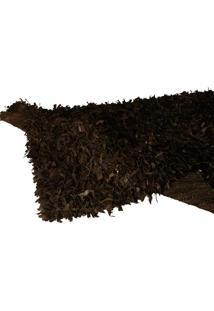 Tapete Decorativo De Couro Shaggi Preto Grande