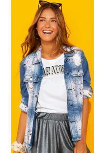 Jaqueta Azul Jeans Com Puídos