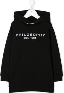 Philosophy Di Lorenzo Serafini Kids Vestido Com Capuz E Logo - Preto