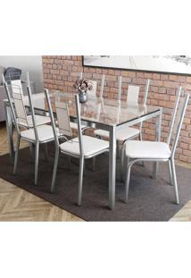 Conjunto Mesa Reno Com Tampo De Vidro E 6 Cadeiras Florença Cromado, Assento Cor Branco
