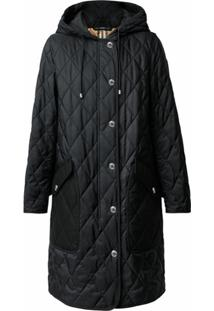 Burberry Diamond-Quilted Mid-Length Coat - Preto