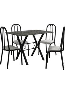 Conjunto De Mesa Miami 4 Cadeiras Preto Fosco/Vegetale Fabone