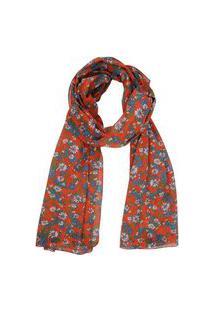 Echarpe Em Algodão Vermelho Com Estampa Floral Azul/Branco A180Xl50 Cm