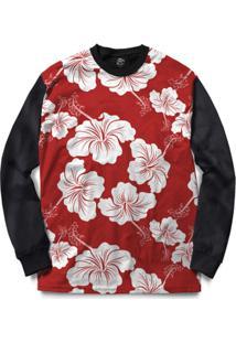 Blusa Bsc Flower Red N White Full Print - Masculino