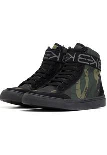 Tãªnis Sneaker K3 Fitness Six Camuflado Preto/Verde - Preto - Feminino - Dafiti