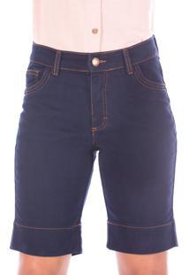 Bermuda Sisal Jeans Ciclista Deep Blue - Azul - Feminino - Dafiti