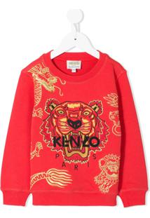 Kenzo Kids Moletom Fantastic Jungle - Vermelho