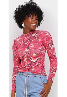 Camiseta Volare Gola Alta Manga Longa Feminina - Feminino-Rosa