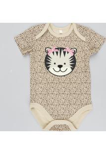 Body Infantil Onça Estampado Animal Print Manga Curta Bege