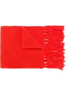 Ami Paris Cachecol Canelado De Lã Merino - Vermelho