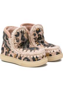 Mou Kids Ankle Boot Esquimó Animal Print - Rosa