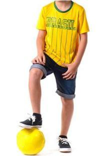 Camiseta Braziline Manga Curta Brasil Xingu Infantil - Masculino