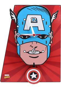 Relógio De Parede Capitão América Geek10 Vermelho