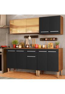 Cozinha Completa Madesa Emilly Drive Com Balcão E Armário Aéreo Reflex - Rustic/Preto Marrom