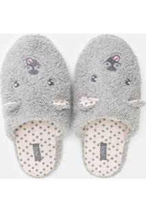 Pantufa Chinelo Peluda Com Bordado Cachorrinho