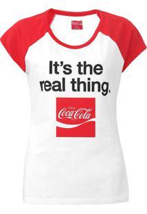 Camiseta Coca-Cola Jeans Aroma Branco/Vermelho