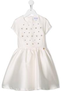 Simonetta Vestido Com Bordado Floral - Branco