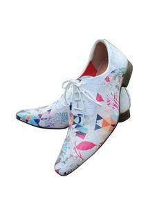 Sapato Masculino Italiano Em Couro Oxford Em Couro - Branco - Branco Multicor