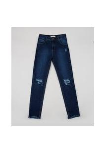 Calça Jeans Juvenil Destroyed Com Bolsos Azul Escuro