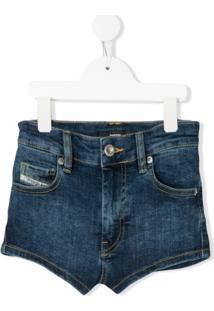 Diesel Kids Short Jeans Cintura Alta - Azul