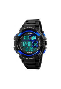 Relógio Digital Skmei -1118- Preto E Azul