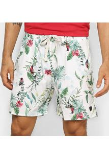 Bermuda Gajang Tropical Masculina - Masculino-Off White