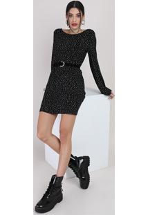 Vestido Feminino Curto Estampado De Poá Com Tiras Manga Longa Preto