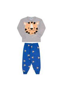 Conjunto Pijama Infantil Brilha No Escuro Tigre Mescla