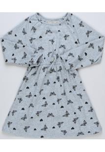 Vestido Infantil Borboletas Manga Longa Cinza