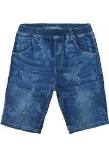 Bermuda Azul Jogging Jeans Estampado Masculina