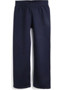 Calça De Moletom Elian Menina Lisa Azul-Marinho