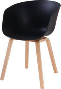 Cadeira Com Bracos Dino Preta Pes Madeira - 50063 - Sun House