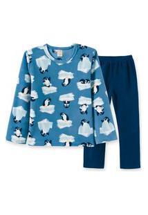 Pijama Infantil Pingo Lelê Manga Longa Soft Pinguim Azul