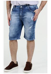 Bermuda Masculina Jeans Puídos Plus Size Razon