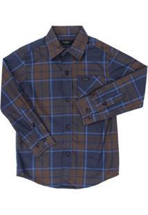 Camisa Manga Longa Infantil Tassa Xadrez Masculina - Masculino-Azul
