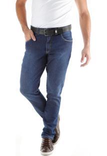 Calça Jeans Slim Estonada Bolso Celular Azul Traymon 2222