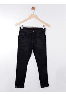 Calça Jeans Juvenil Akiyoshi Masculina - Masculino-Preto