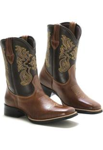 Bota Lookstock Country Texana Bordada Masculina - Masculino-Marrom