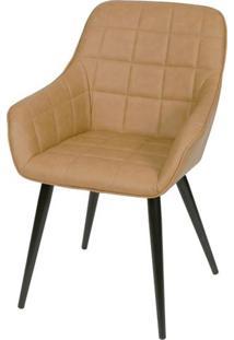 Cadeira Lounge Com Braco Courino Caramelo E Costura Quadriculada - 50023 - Sun House