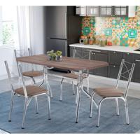 7b95f3eea Conjunto De Mesa De Cozinha 4 Cadeiras Miami Couro Sintético Marrom