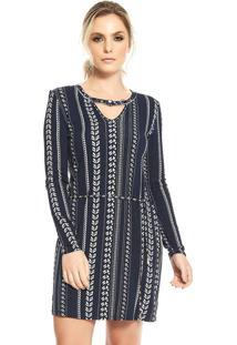 Vestido Curto Feminino Rovitex Azul