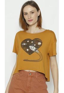 """Camiseta """"Foguete"""" - Marrom - Sommersommer"""