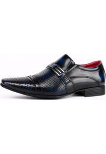 Sapato Social Art Shoes Perfuros Azul-Marinho