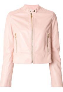 Dolce & Gabbana Jaqueta Cropped De Couro - Rosa