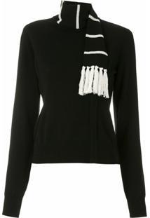 Dolce & Gabbana Blusa Com Cachecol Em Ashmere - Preto